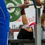 Powerlifter Moza Alzeyoudi picks up a medal at the Fazza IPC World Cup